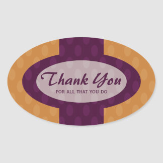 Retro Ovals Thank You Sticker - Tangerine