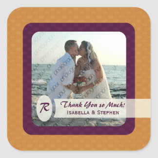Retro Ovals Wedding Thank You Sticker - Tangerine