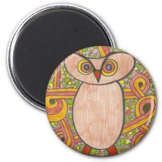 Retro Owl 2 Inch Round Magnet
