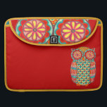 """Retro Owl Art Macbook Pro Sleeve<br><div class=""""desc"""">This retro owl Art Macbook Pro Sleeve features a funky,  detailed drawing of an groovy owl drawn in a folk art style.  This retro owl is the original art of Thaneeya McArdle.</div>"""
