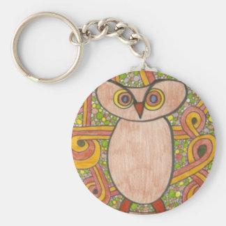 Retro Owl Basic Round Button Keychain