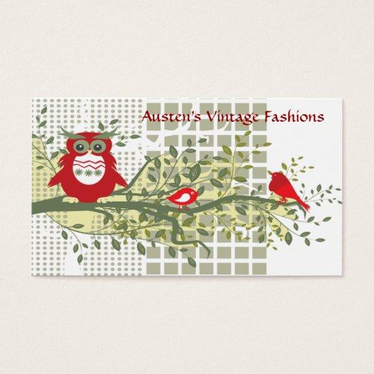 retro owl business card customizable