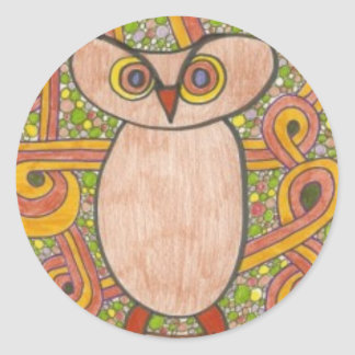 Retro Owl Classic Round Sticker