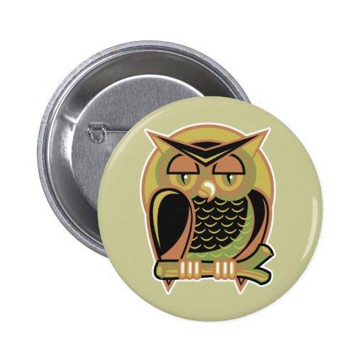 retro owl design 2 inch round button