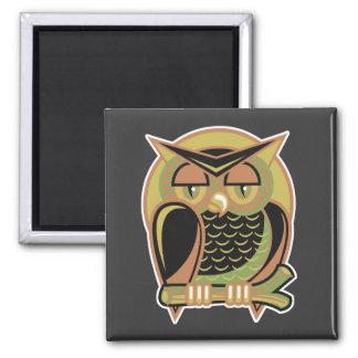 retro owl design 2 inch square magnet