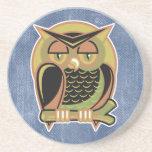 retro owl design beverage coasters