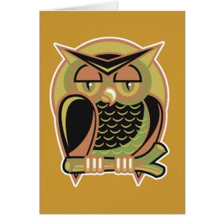retro owl design card