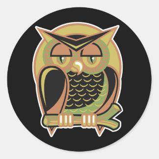 retro owl design classic round sticker