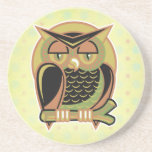retro owl design drink coasters