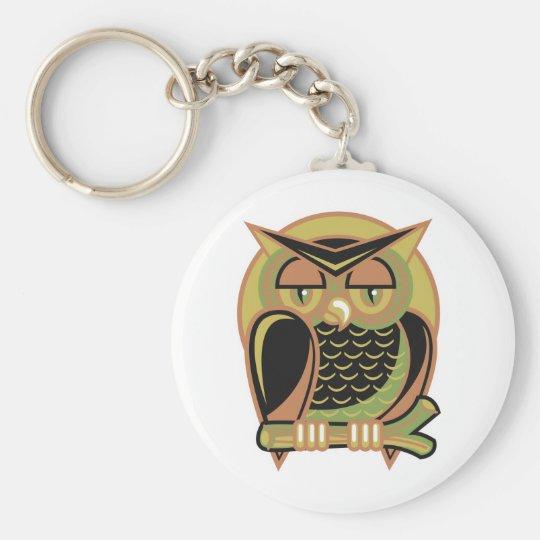 retro owl design keychain