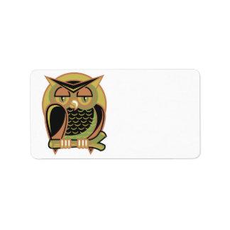 retro owl design label
