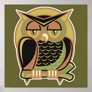 retro owl design poster