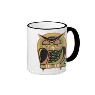 retro owl design, retro owl design ringer mug