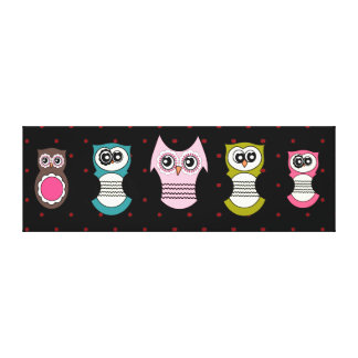 Retro Owl Family on Canvas