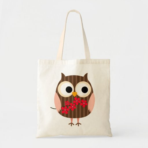 Retro Owl Girl with Flowers Bag