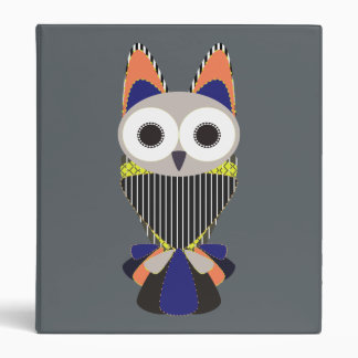 Retro Owl Gray Binder