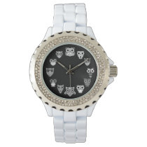 Retro Owl in Black & White Wristwatch
