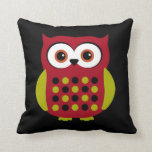Retro Owl in Red Pillow