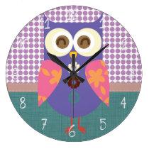 Retro Owl Large Clock