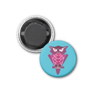 Retro Owl magnet (pink)