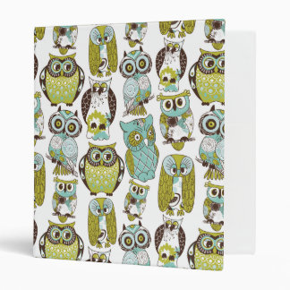 Retro Owl pattern cute funny background Binder
