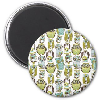 Retro Owl pattern cute funny background Magnet