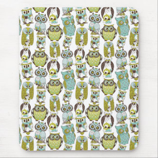 Retro Owl pattern cute funny background Mouse Pad