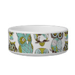 Retro Owl pattern cute funny background Cat Food Bowl