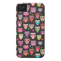 Retro owl pattern illustration iPhone 4 case