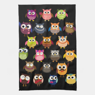 Retro Owl Pattern Hand Towels
