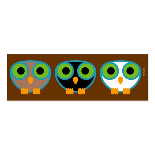 retro OWL personal mini ID card 2 Double-Sided Mini Business Cards (Pack Of 20)