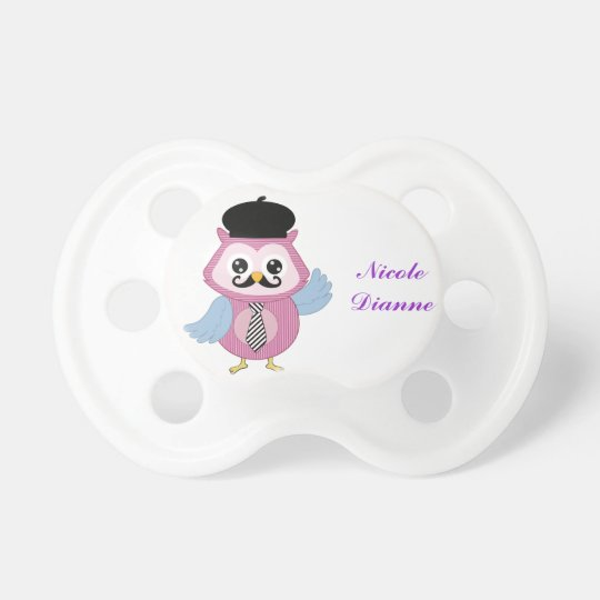 Retro Owl Personalized Custom Name Pacifier