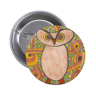 Retro Owl Pinback Button