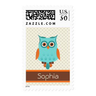 Retro Owl Polka Dot Personalized Custom Name Postage