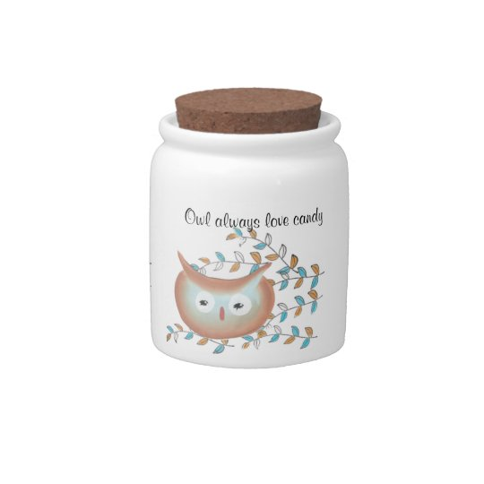 Retro Owl Porcelain Candy Jar