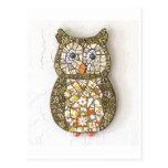 retro owl postcard