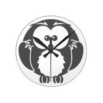 Retro Owl Round Clock