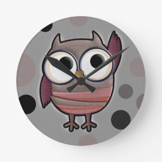 Retro Owl Round Clock