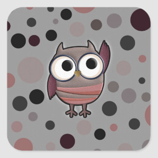 Retro Owl Square Sticker