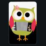 "Retro Owl with Accordion - Cute! Magnet<br><div class=""desc"">This is such a cute retro owl,  perfect gift for any owl lover. 