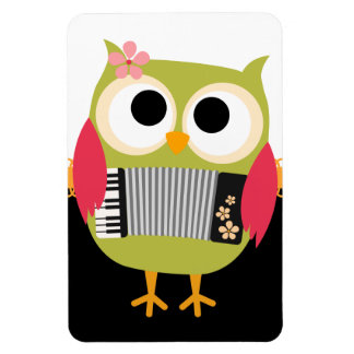 Retro Owl with Accordion - Cute! Magnet