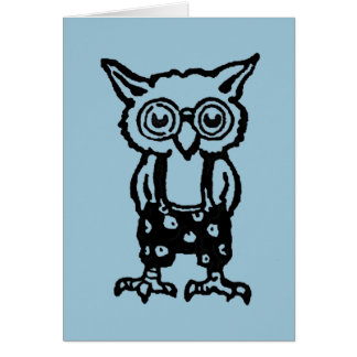 Retro Owl with Glasses Card (inside:guess whoooo?)