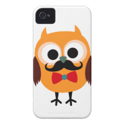 Case-Mate iPhone 4 Barely There Universal Case with Cartoon Owls with Mustaches design
