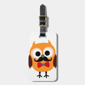 Retro Owl with Handlebar Mustache Moustache Luggage Tag