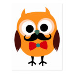 Retro Owl with Handlebar Mustache Moustache Post Cards