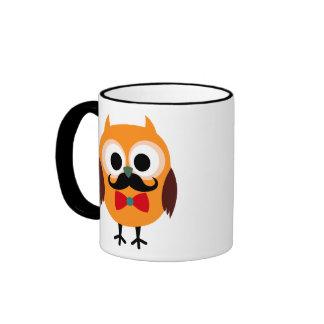 Retro Owl with Handlebar Mustache Moustache Ringer Mug
