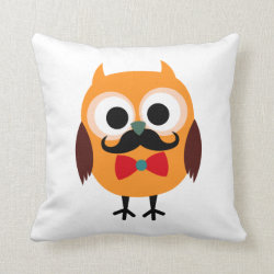 Cotton Throw Pillow with Cartoon Owls with Mustaches design