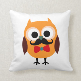 Retro Owl with Handlebar Mustache Moustache Throw Pillow