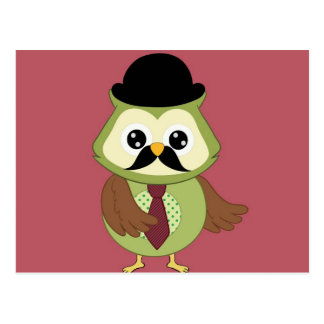 Retro Owl with Hat, tie and Mustache Postcard