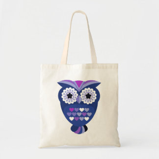 Retro Owl with Hearts Budget Tote Bag